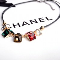 Colorful square crystal women necklace