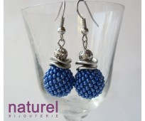 Deep Blue Beaded bead earrings