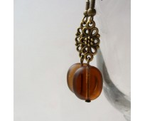 Czech glass beads brown earrings