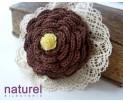 Chocolate and cream flower broоch,
