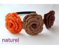 Orange and chocolate Flower headband