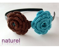 Chocolate and Turquoise Flower headband