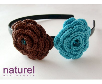 Chocolate and Turquoise Flower headband