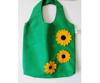 Clean bags with chrochetted flowers