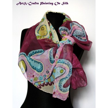 Hand Painted Silk Scarf #3